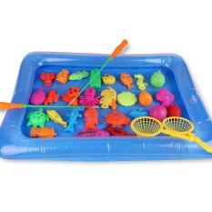 Đồ chơi trẻ em Bể phao Câu cá đủ bộ gồm bể hơi+2 cần câu+1 bơm+cá gắn nam châm