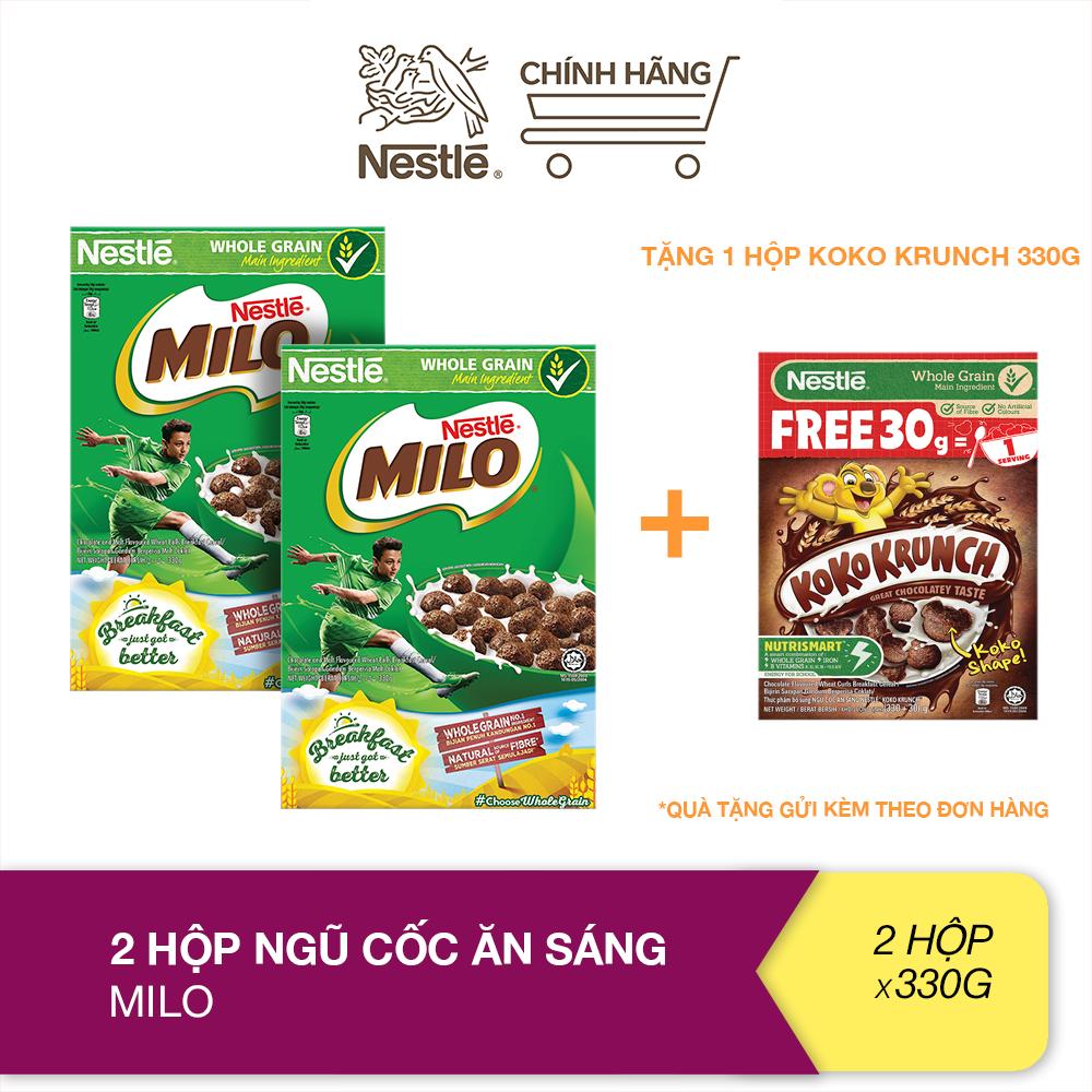 [Tặng 1 hộp Koko Krunch (Hộp 330g + 30g)] Combo 2 Hộp ngũ cốc ăn sáng Milo (Hộp 330g)