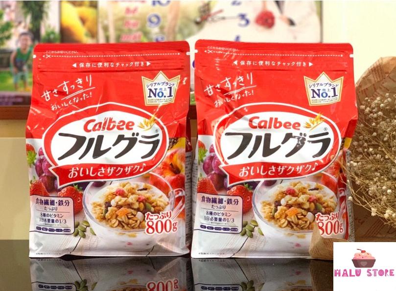 (HSD T5/2021) Ngũ cốc trái cây Calbee gói đỏ 8000g – Nhật Bản hương vị thơm ngon