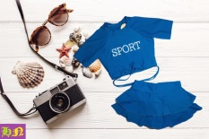 Bộ đồ bơi bé gái ngắn tay quần giả váy đáng yêu 30-41kg – Đồ bơi 2 mãnh – Đồ bơi trẻ em – Hương Nhiên