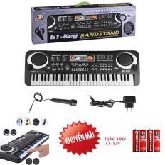 Đàn piano 61 phím kèm micro giúp bé học tập,luyện thanh nhạc,tập hát,chơi nhạc giải trí ( tặng 4 pin AA-1.5V)