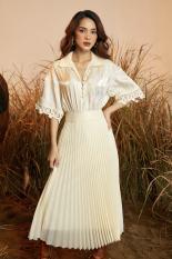 Váy Sunny organza kem dập ly quạt