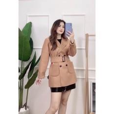 (Sẵn) Áo khoác măng tô dạ ép dáng lửng kèm đai kiểu Hàn Quốc cao cấp siêu đẹp