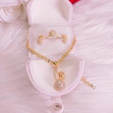 Bộ trang sức vàng 18k GADO S03DM021B027N053, bộ trang sức nữ đẹp đá pha lê sáng siêu lấp lánh lung linh thiết kế sang trọng quý tộc đẳng cấp – dùng đi tiệc cực kì sang trọng