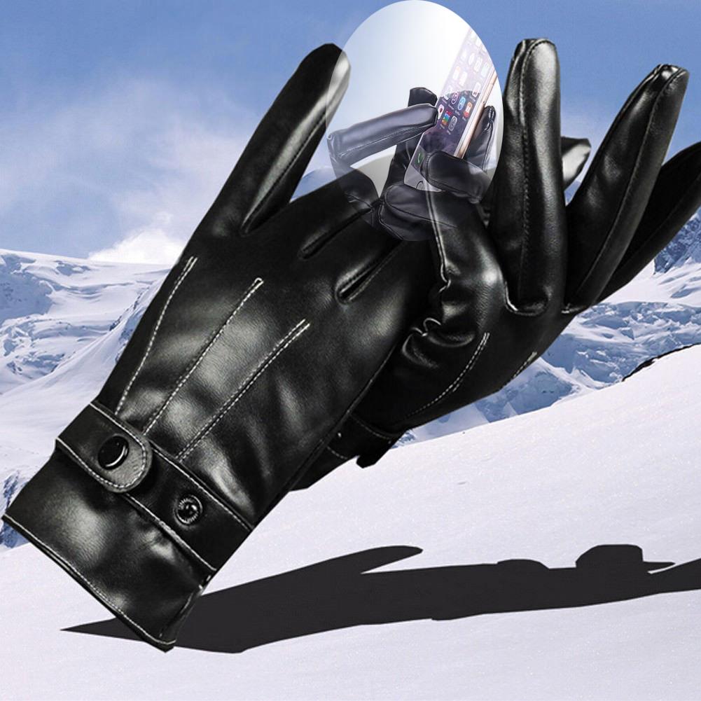 Găng tay da PU cho Nam Nữ, KÍN NGÓN, chống trượt, màn hình cảm ứng, Giữ Ấm Mùa Đông, thu...