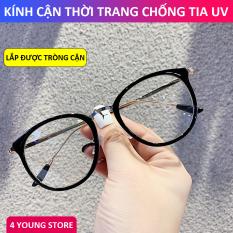 Kính cận thời trang gọng tròn cá tính phong cách Hàn Quốc – Kính không độ có thể thay được tròng cận bảo hành 12 tháng lỗi 1 đổi 1 trên toàn quốc 014