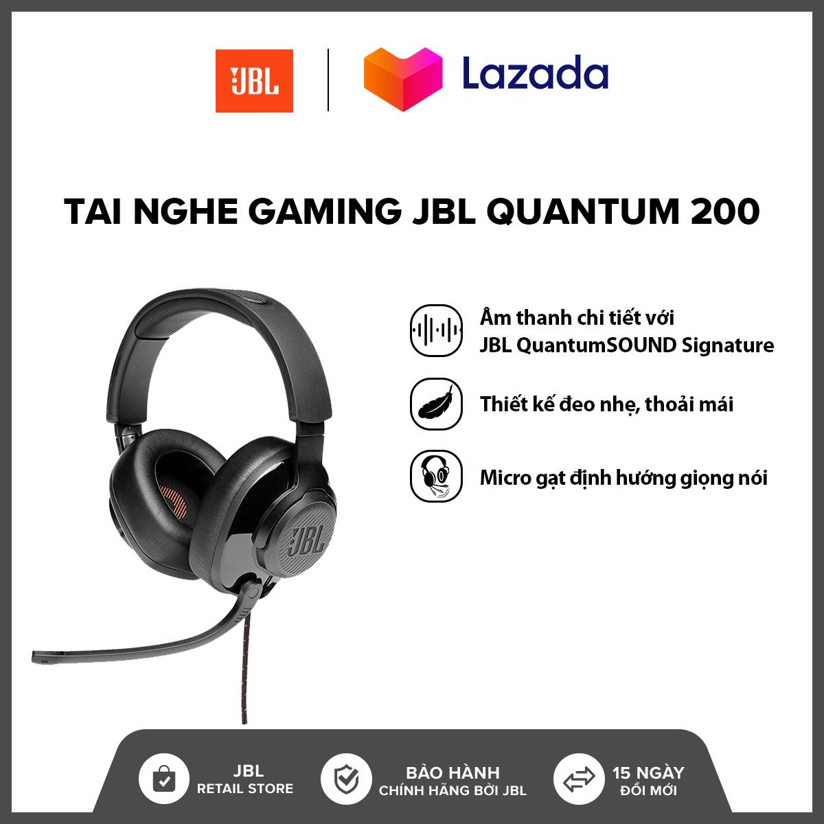 Tai nghe Gaming JBL Quantum 200 l Công nghệ JBL QuantumSOUND Signature l Driver 50mm l Đệm tai xốp thoải...
