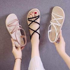 Giày Sandal Nữ Quai Chéo Đế Giả Cói Đi Mưa