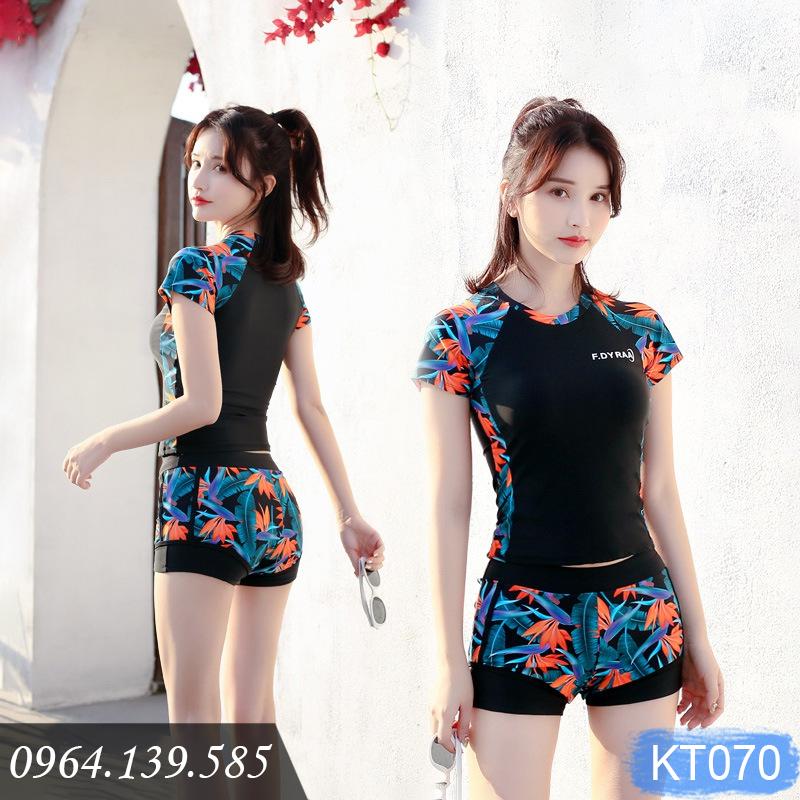 Đồ bơi nữ 2 mảnh quần sooc đùi, áo cộc tay, dáng thun che bụng, có size rất nhỏ, mẫu thể thao trẻ trung năng động (dùng bơi, gym, yoga, chạy bộ) | KT070