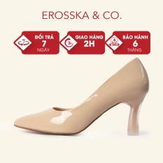 Erosska – Giày cao gót thời trang mũi nhọn kiểu dáng cơ bản cao 7cm màu nude – EP006