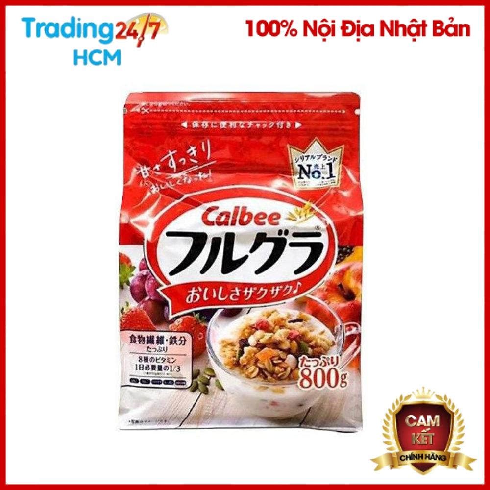 (HSD T3/2021)Ngũ cốc trái cây Calbee màu đỏ gói 800g – Nội địa Nhật Bản