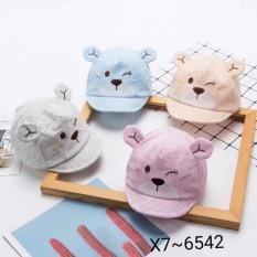 Mũ cho bé trai và bé gái từ 0 đến12 tháng tuổi hoạ tiết chú gấu bông sọc xinh xắn