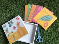 Tập cắn dán thủ công cho bé – Combo Kéo và giấy thủ công (100 tờ)