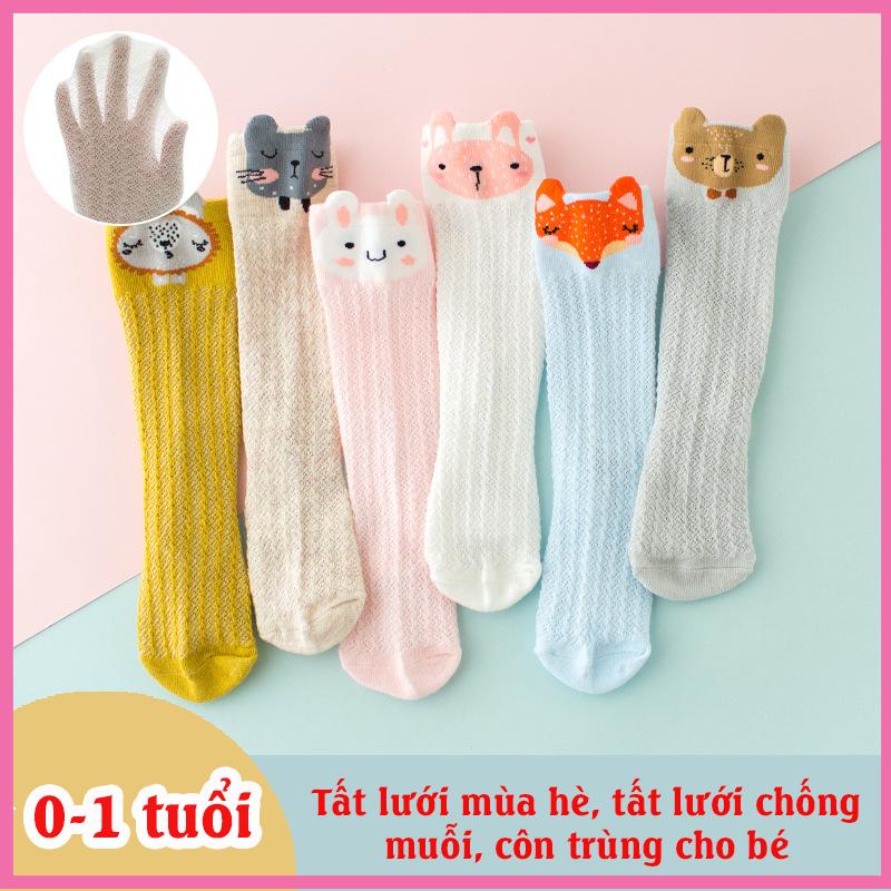 Vớ lưới dài trẻ em từ 0-1 tuổi, Vớ lưới chống muỗi côn trùng cho bé trai, bé gái Cotton Hàn Quốc Hoạt Hình Xinh Xắn, giữ ấm và bảo vệ bé
