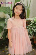 Váy ren hồng bé gái Lovekids