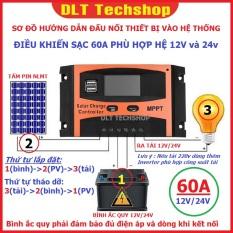 (Tặng bút điện Stanley chính hãng) Điều Khiển Tấm Pin Năng Lượng Mặt Trời 60A 720W 12V-24V 2 cổng USB 5v-2A-60A-2020