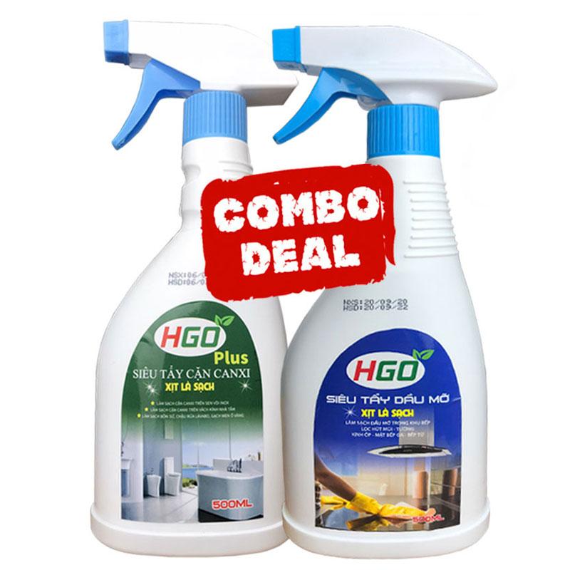 Combo tẩy cặn canxi HGO Plus và tẩy dầu mỡ HGO Hàng chuyên dụng, làm sạch hiệu quả, tiết kiệm...