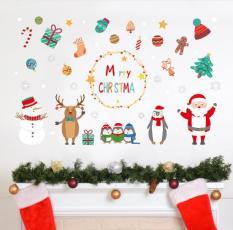 Decal trang trí Noel – Mọi nhân vật vẫy tay chào đón 1 mùa lễ Giang Sinh