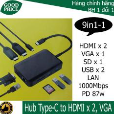 HUB USB C Type-C to HDMI*2, VGA, PD, SD, LAN – 9in1-1 – HCM Goodprice