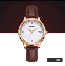 iWATCH-Đồng hồ nữ SANDA dây da mặt khảm hoa nghệ thuật IW-SD219
