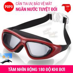 Kính bơi người lớn, kính bơi tráng gương tầm nhìn rộng 180 độ POPO (SBIG) mắt kiếng bơi tráng cản tia UV trong Bộ sưu tập Kính bơi nam, kính bơi nữ 2021