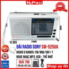 Đài radio FM SW-525UA H2Pro 9 Bands Quốc tế FM, MW, SW1-7, đài radio sạc điện, có USB-Thẻ nhớ làm máy nghe nhạc mp3 (tặng pin sạc và dây sạc 79K)