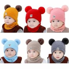 Đồ thu đông cho bé, Mũ len quả bông kèm khăn ấm áp cho bé