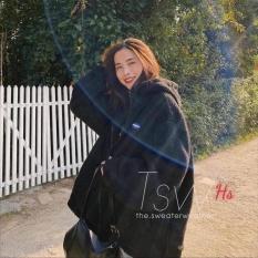 Áo lông đen in lô gô HSU1