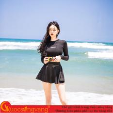 Bộ bơi nữ dài tay chất đẹp đồ đi biển nữ kiểu váy SWIM071