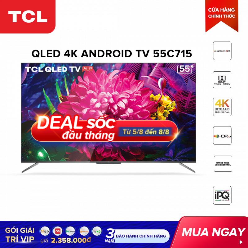 QLED 4K Android Tivi TCL 55 inch UHD 55C715 – HDR 10+. Quantum Dot, Dolby Vision & Atmos. TCL AI-IN, công nghệ IPQ – Tivi giá rẻ chất lượng – Bảo hành 3 năm
