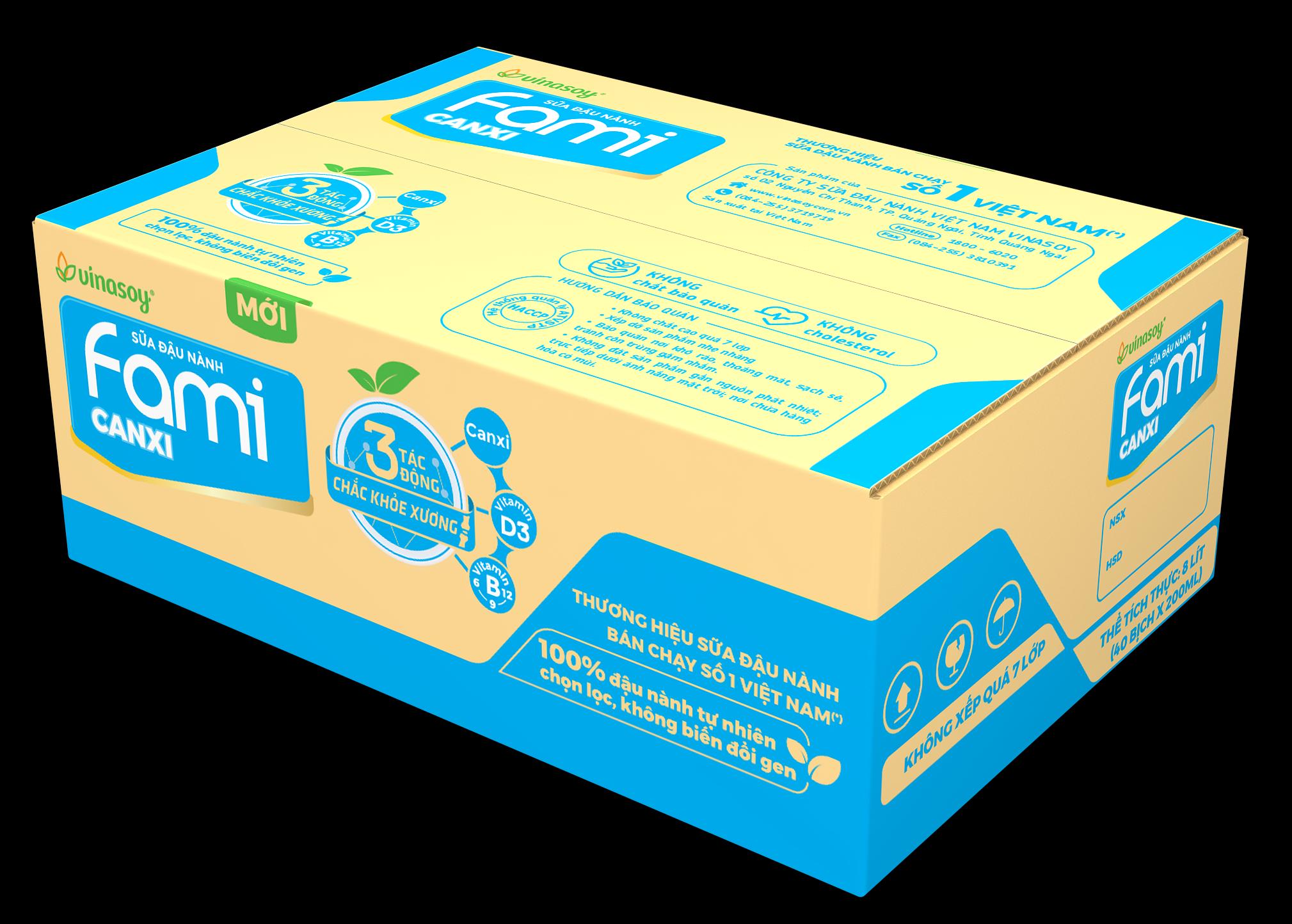 [Siêu thị Lazada] Thùng Sữa Đậu Nành Fami Canxi (40 bịch x 200ml) công thức đột phá bổ sung và giúp cơ thể hấp thụ dưỡng chất