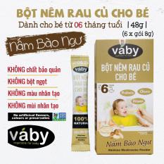 [VOUCHER 85K] Bột nêm Nấm Bào Ngư & Phô Mai dành cho bé ăn dặm VABY Hộp 48g (6 x gói 8g) – Gia vị nêm và rắc dành cho bé từ 6 tháng tuổi