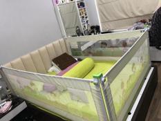 combo 3 thanh chắn giường 2 thanh 2m , 1 thanh 1m8 màu kem