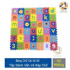 Bảng Chữ Số cho bé Tập Đánh Vần và Ráp Chữ ( 42 miếng ) – Miếng xốp lót sàn cho bé làm Đồ Chơi, Học Tập và Sàn Vui Chơi – LICLAC