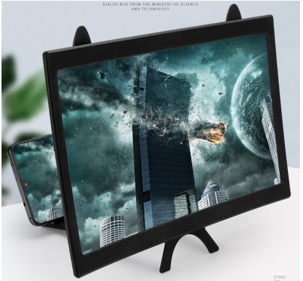 Phóng Đại Màn Hình Điện Thoại 3D , Màn Hình Cong Hula 12 Inch, Mẫu Mới 2021, CỰC LỚN, MẪU TAI THỎ – Màn Hình Cong Hula