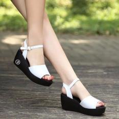 ( Bảo hành 12 tháng ) Giày sandal đế xuồng nữ đế đúc quai ngang cổ điển – Giày đế xuồng cao 6cm – Giày nữ da mềm 2 màu Đen và Trắng – Linus LN1827