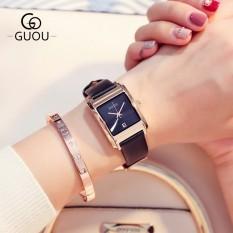 Đồng hồ nữ GUOU 8089 dây da mặt vuông sang trọng siêu đẹp