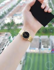 đồng hồ nữ halei dây vàng mặt đen,HLS504M,chống nước ,chống xước tốt