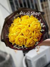 Hoa sáp thơm bó tròn 12 bông vĩnh cửu, hàng sẵn