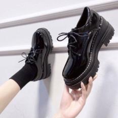 Giày bốt độn đế da bóng tăng chiều cao, Giày bốt kiểu dáng hàn cho mùa đông