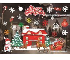 Decal Trang Trí Noel Hai Mặt Hít Tĩnh Điện Không Dơ Kính- Ngôi Nhà Đỏ Phủ Tuyết Hiện Đại