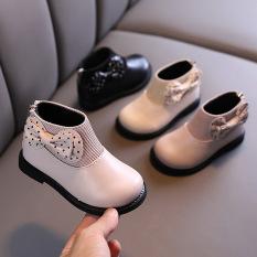 Giày boot bé gái bốt cổ thấp gắn nơ siêu dễ thương đi êm chân phối đồ xinh