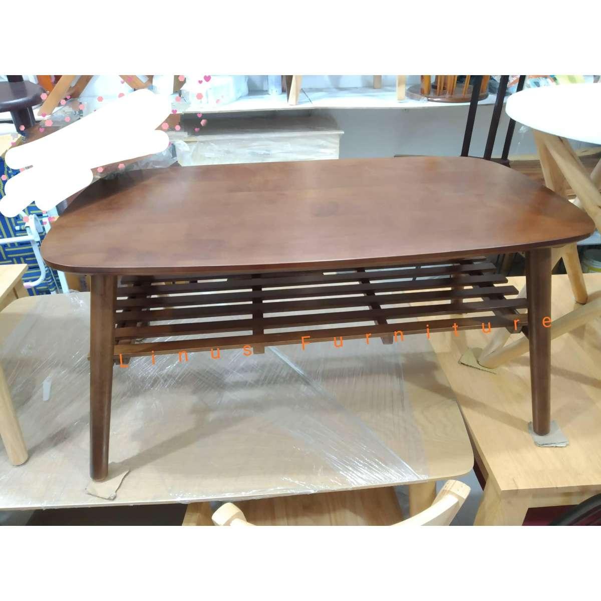 Bàn sofa 2 tầng chân xếp gọn, gỗ tự nhiên kích thước 50x90cm