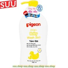 Sữa Tắm Gội 700G Pigeon Cho Em Bé da nhạy cảm màu vàng