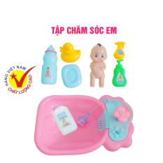 Bộ đồ chơi Bồn Tắm Búp Bê, tập tắm em bé, có cả vòi hoa sen của hãng LONG THỦY hàng Việt Nam an toàn dành cho bé gái