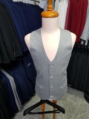 Áo gile nam ôm body màu xám ghi phong cách tặng kèm nơ