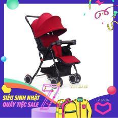 Xe nôi đẩy cho em bé model 2018 (Đỏ Đô) + Tặng kèm đệm lót, chiếu cói