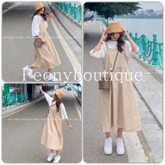 Set Váy Yếm Kaki Áo Thun Cotton Nữ 🌸 Bộ đầm 2 dây bản to màu be dáng suông dài kèm phông tay lỡ rộng trắng ulzzang 🌸