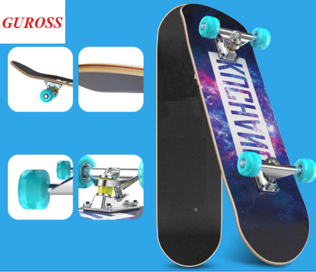 Ván Trượt Người Lớn Skateboard 80cm, Mặt Nhám Bánh PU Phát Sáng + Trục Hợp Kim Nhôm – Chính Hãng Guross