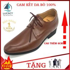[TẶNG TẤT KHỬ MÙI] Giày công sở tăng chiều cao nam tăng chiều cao 6cm da bò nguyên tấm cao cấp L2101BN